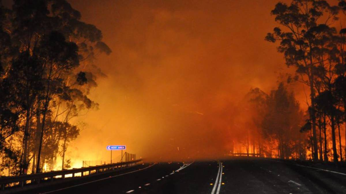 CORONERS INQUEST: Princes Highway at Sussex Inlet in the midst of the Currowan fires which claimed the lives of three people. Picture: NSW RFS