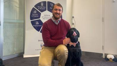 VETERANS SUPPORT: RSL LifeCare Veteran Support Coordinator Kane Hall said his support dog Gracie has helped him open up after serving in Afghanistan.