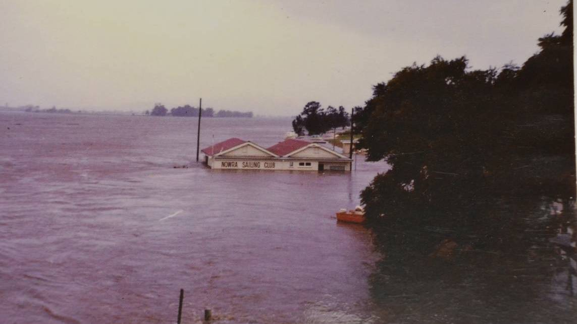 An historic image of the Nowra Sailing Club area under a Shoalhaven River flood, 1974.Image: Shoalhaven Historical Society