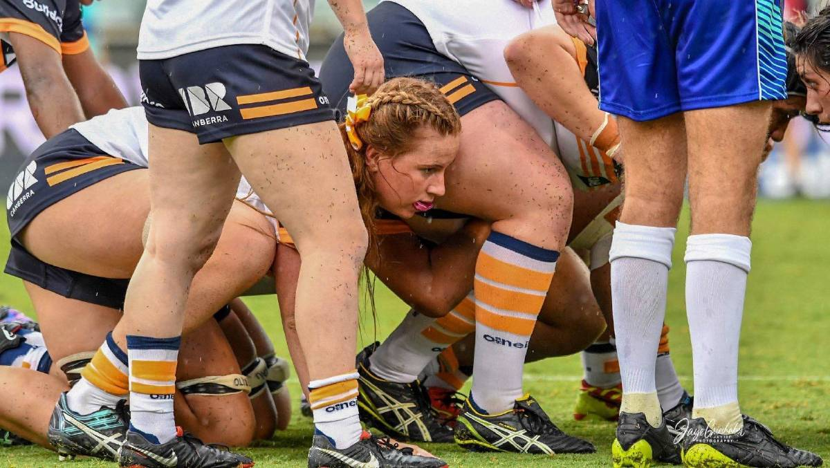 Grace Sullivan packs down in a scrum during the Super W season. Photo: Brumbies Rugby