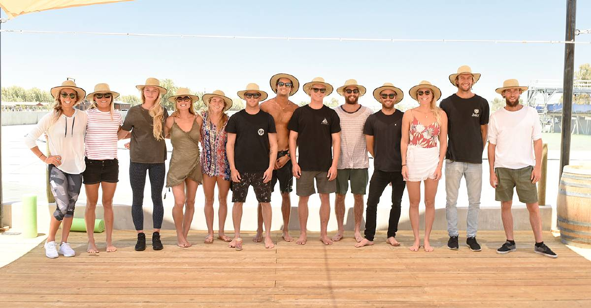 Sally Fitzgibbons (far left), Owen Wright (second from right) and Surfing Australia's national squad. Photo: SURFING AUSTRALIA