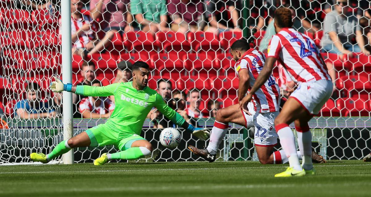 Adam Federici makes a save for Stoke City against Leeds United this season. Photo: Phil Greig