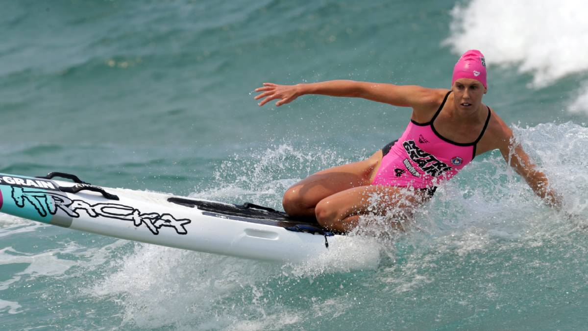 Kirsty Higgison balances herself on the board during this year's ironperson series. Photo: SLSA