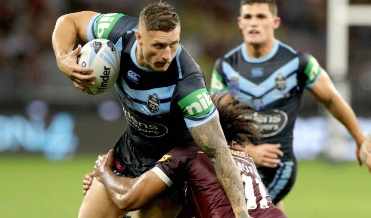 Gerringong Lions junior Tariq Sims makes a run for the Blues during game two of the 2019 State of Origin series. Photo: NSWRL
