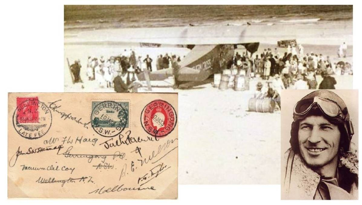 HISTORY: The letter carried by Sir Charles Kingsford Smith on his flight to New Zealand, signed by the three crew and two passengers now back at the Gerringong and District Historical Society. The scene of Smithy's Seven Mile Beach flight in January 1933 and and the great aviator himself.