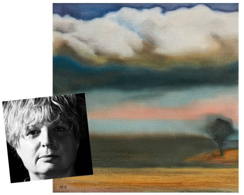 STUNNING WORK: A-F Fulgence and one of her works, Southerly Change, oil on paper, which will be on show at her stunning new exhibition,