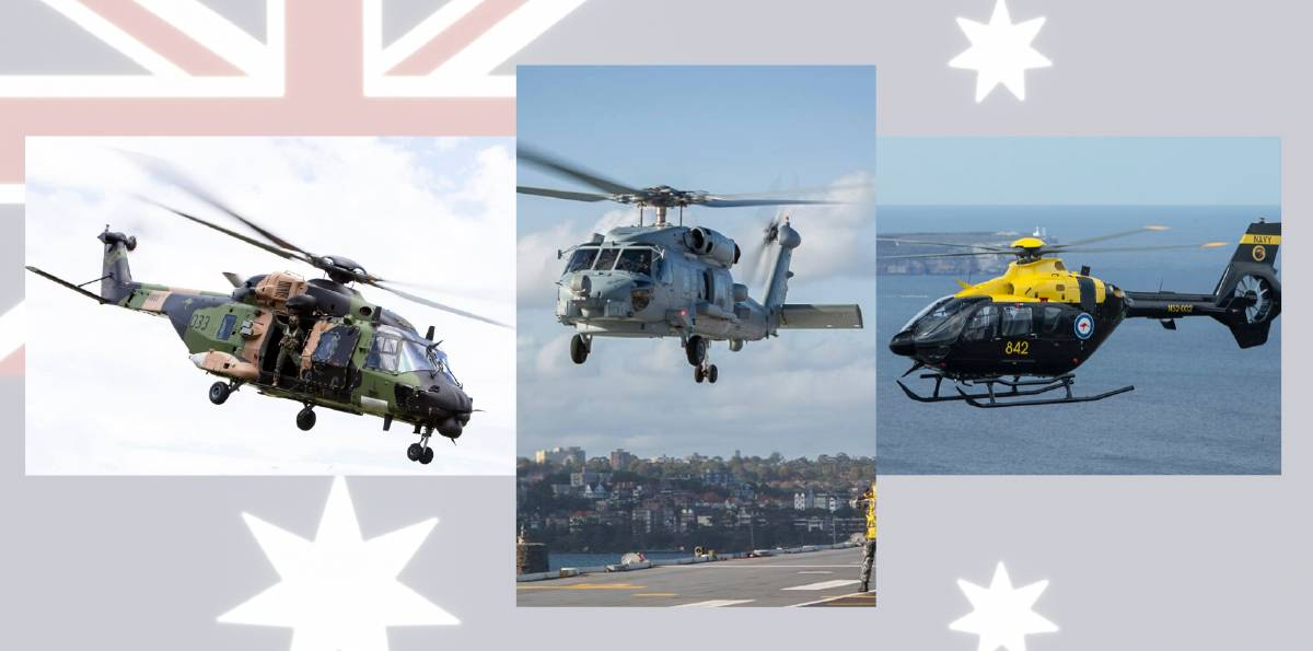 Royal Australian Navy helicopters (from left) MRH-90 Taipan from 808 Squadron, MH-60 Romeo from 816 Squadron and the EC-135T2+ from 723 Squadron which is also the Joint Helicopter School, all fly out of HMAS Albatross.
