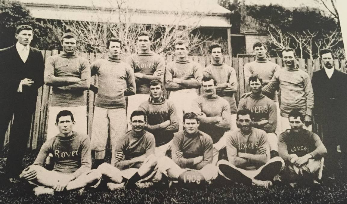 The Pyree Rovers 1903 team (back from left) Michael Walsh, Robert D. Borrowdale, Charles V. Monaghan, E.M (Morg) Ryan, Dave DeMestre, G Borrowdale, Peter Ryan, Bert DeMestre. Middle row: ???, ???. Alex D. McDonald, J Carberry. Front row: Jack Ryan, Hughie Green, ???, Bob Georgeson, Duncan Waddell.