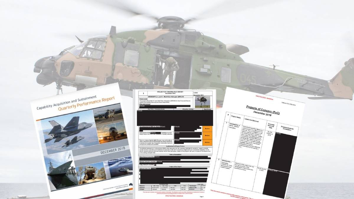 A Royal Australian Navy MRH90 helicopter which has its home base at 808 Squadron at HMAS Albatross and some of the heavily redacted quarterly performance reports from the Department's Capability and Sustainment Group.