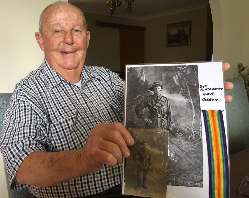 HISTORY: Trevor McGuire proudly shows off a photo of his great uncle, Sergeant Rupert Clyde McCarthy (number 875) who won a prestigious horse race in the Middle East during World War I.