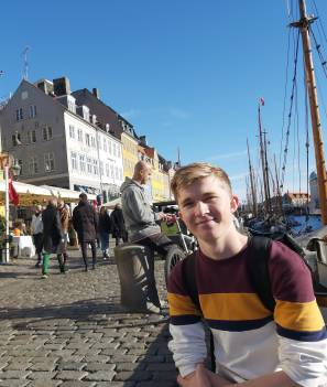 FROM DENMARK WITH LOVE: St John's student Saxon Perry during his 12-month exchange in Denmark.