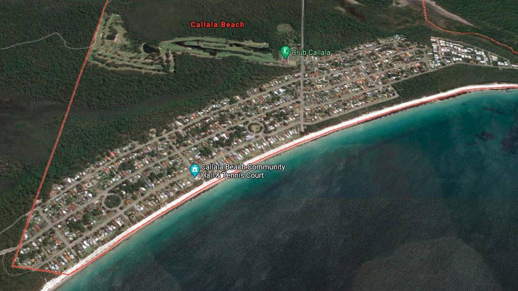BIG INCREASE: Callala Beach, bordering Jervis Bay, has risen to number three in Australia's fastest price growth for small towns with the median property price increasing by 14.1 per cent for $730,500. Image: Google Maps