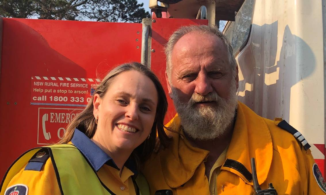 RFS community risk manager Inspector Kelwyn White, pictured with Nerrigundah Captain Ron Threlfall, says the families of volunteers deserve our thanks as well.