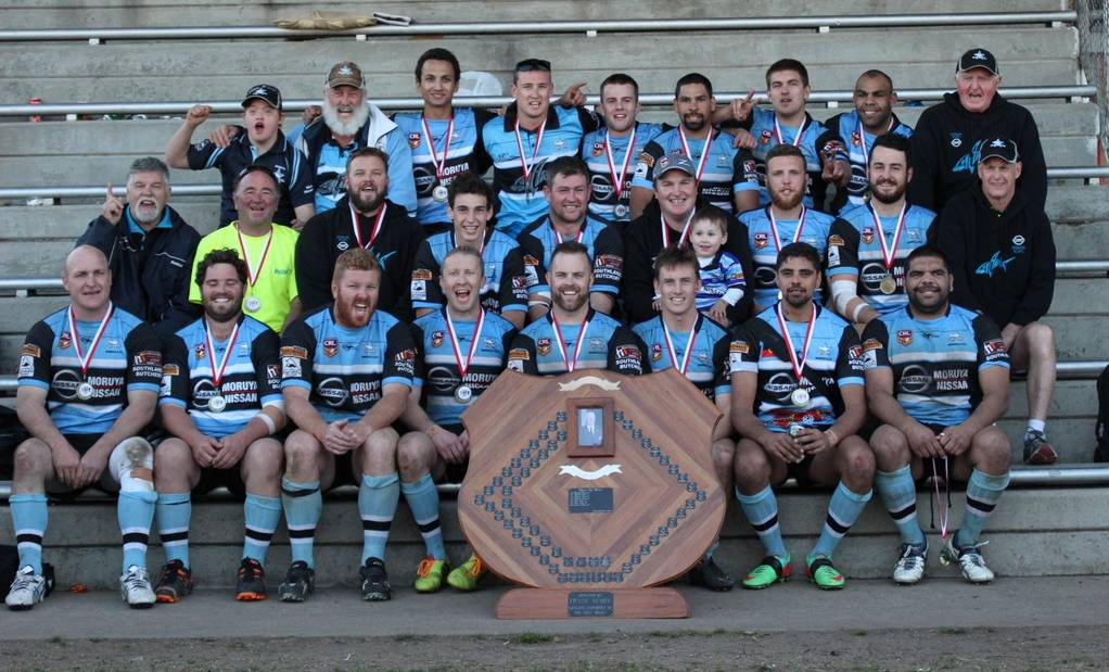 DEFENDING PREMIERS: The Moruya Sharks first grade premiership winning team and support staff following the win last year.