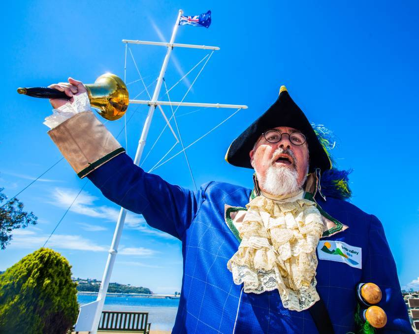 HEAR YE, HEAR YE: Regional town crier Alan Moyse in action during a cruise ship visit to Eden, southern NSW. Picture: Rachel Mounsey