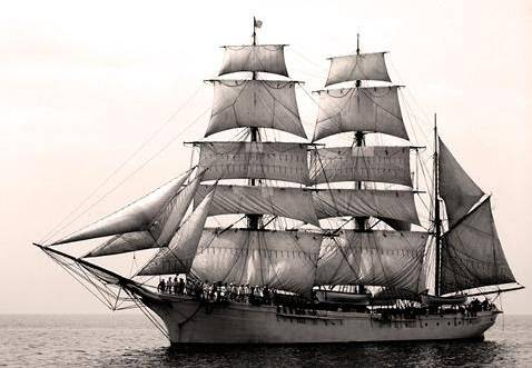 Example of a wooden barquentine.